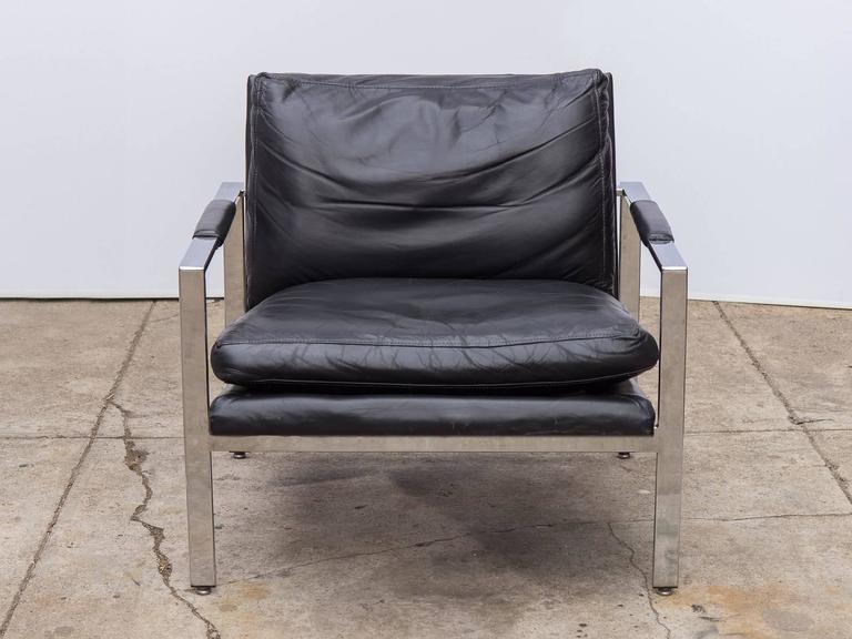 Milo Baughman Chrome Leather Chair At 1stdibs