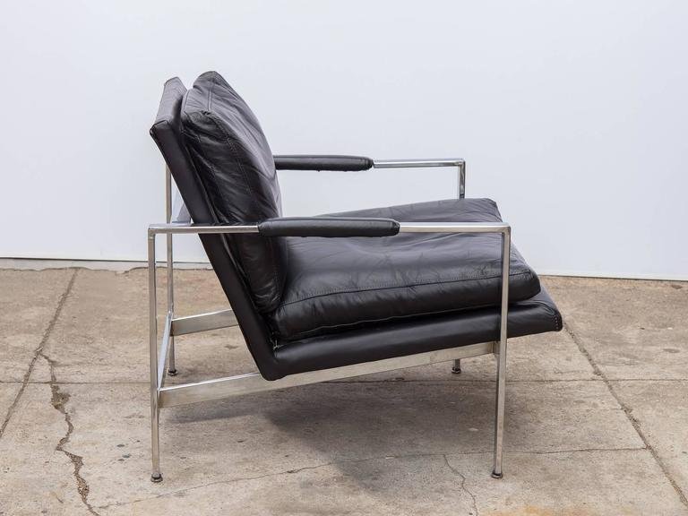 milo baughman chrome leather chair at 1stdibs