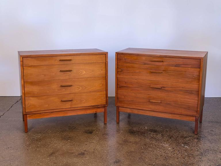 Pair of Mid-Century Modern Walnut Dressers For Sale 6