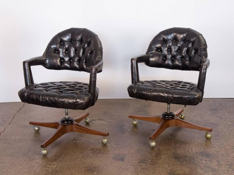 Mid-20th Century Pair of Edward Wormley Dunbar Tufted Swivel Chairs For Sale