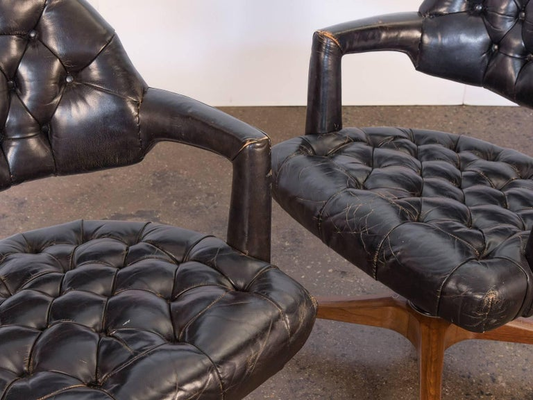 Pair of Edward Wormley Dunbar Tufted Swivel Chairs For Sale 2