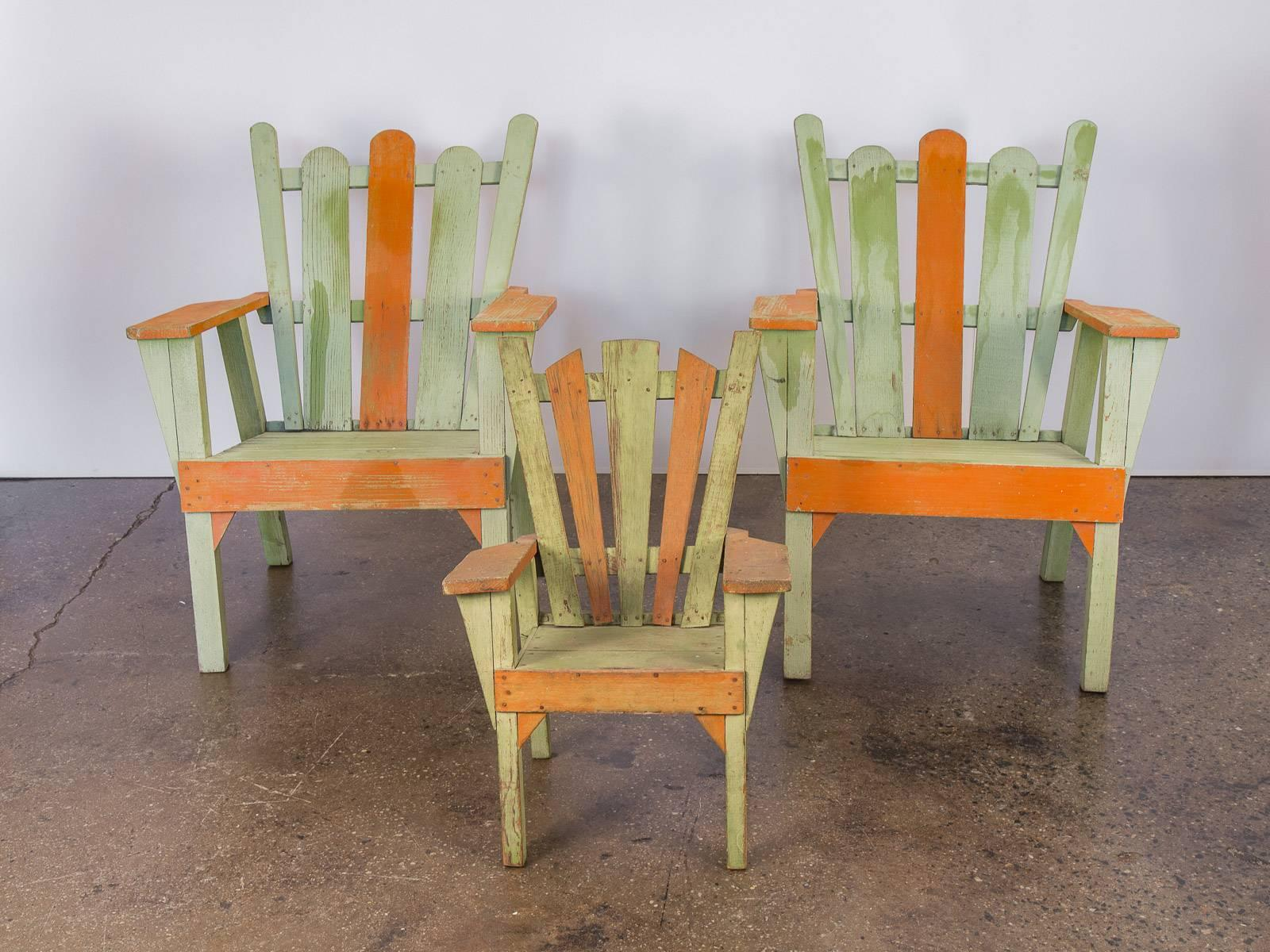 Set Of Three 1960s Vintage Adirondack Lounge Chairs. Consists Of Two Larger  Chairs And One