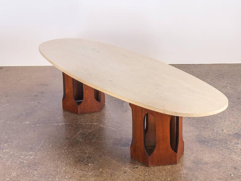 Harvey Probber Travertine Coffee Table In Excellent Condition For Sale In Brooklyn, NY