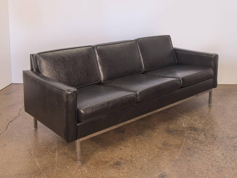 Mid Century Modern Florence Knoll Style Black Chrome Frame Sofa For Steelcase