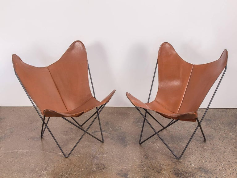 Pair Of Tabacco Brown Hardoy Butterfly BKF Chairs For