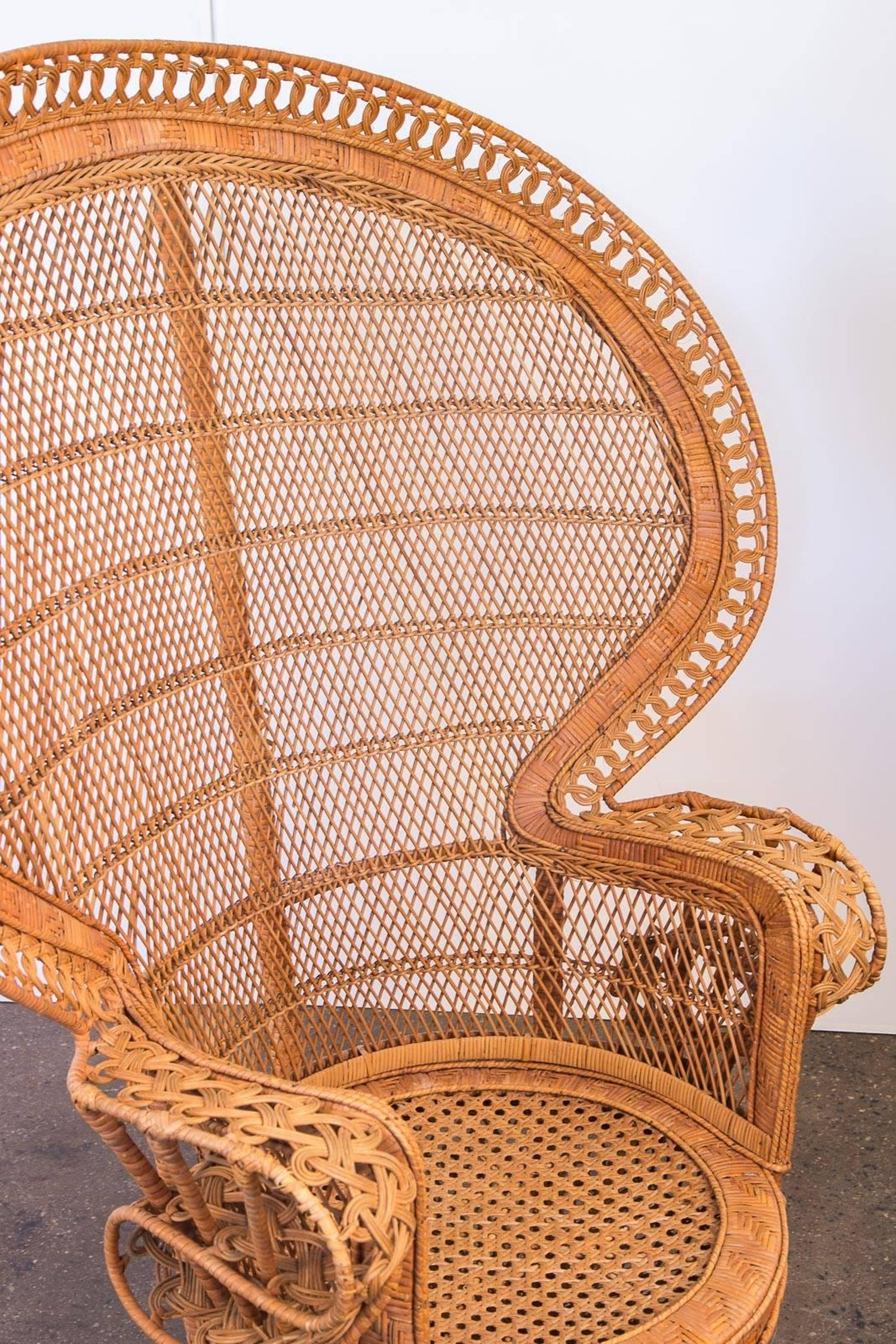 Emmanuelle Woven Rattan Peacock Chair For Sale at 1stdibs