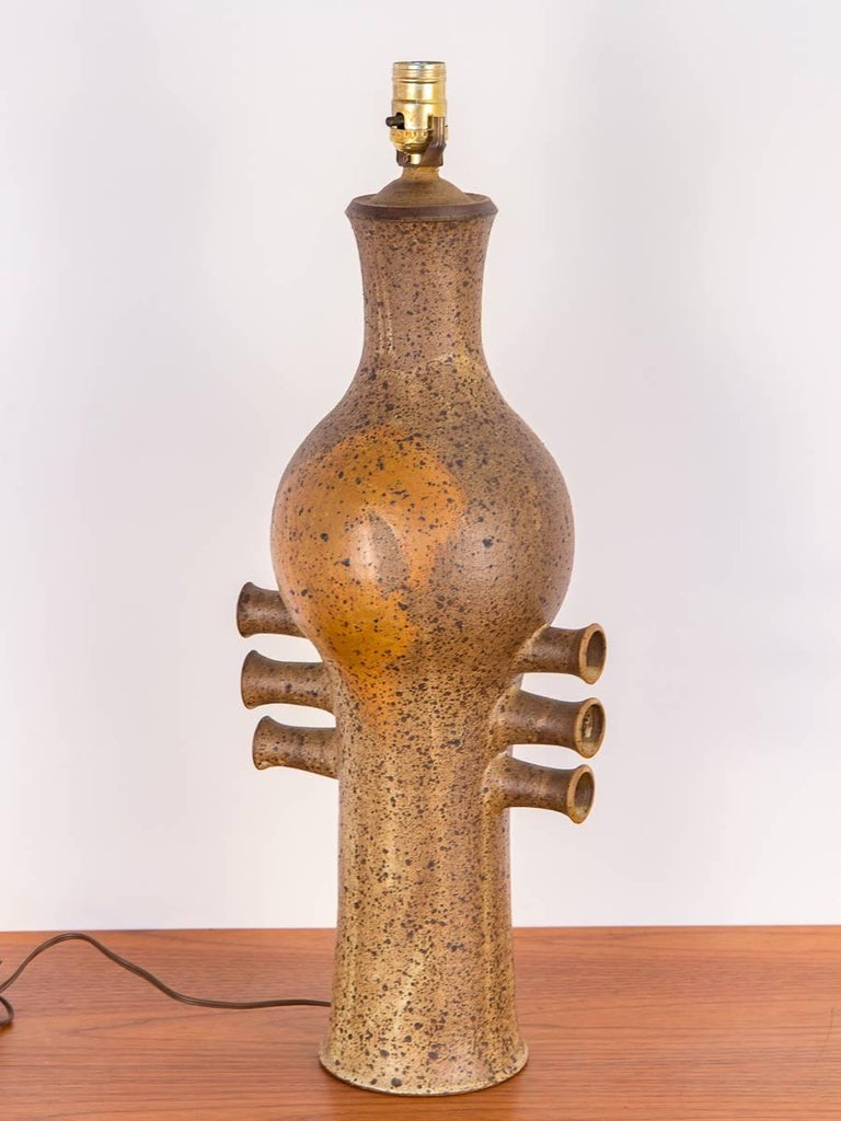 Danish Modern 1960s Hand Thrown Art Pottery Lamp For Sale