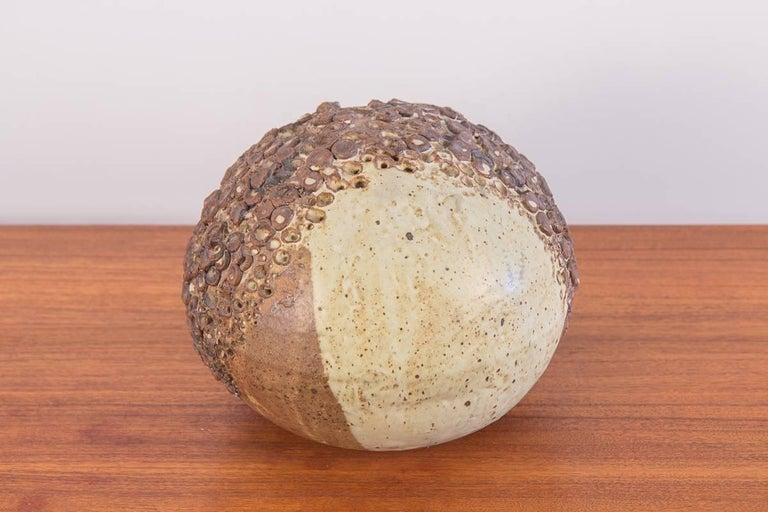 Mid-Century Modern Earthenware Sphere Table Sculpture For Sale