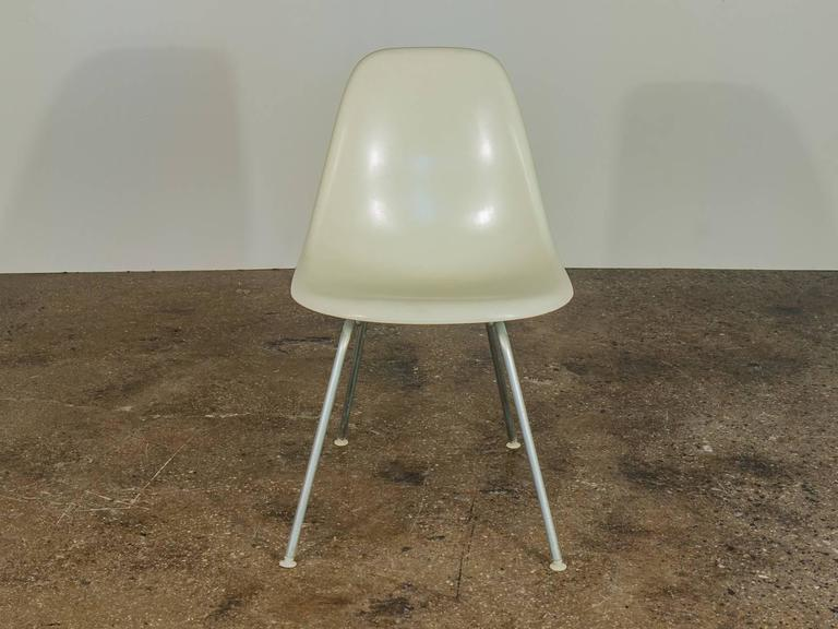 Mid-Century Modern Eames for Herman Miller White Fiberglass Shell Chairs  For Sale