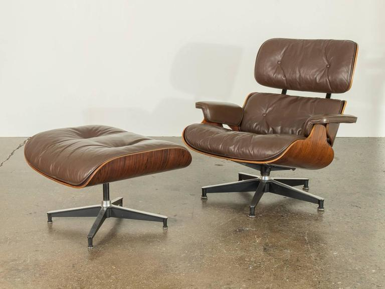 Brown Leather Eames 670 Rosewood Lounge Chair 2