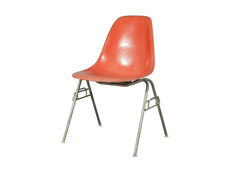 Priced per chair. Classic 1960s vintage Eames fiberglass shell chairs in  orange for Herman Miller - Vintage Eames Orange Fiberglass Shellchair For Sale At 1stdibs