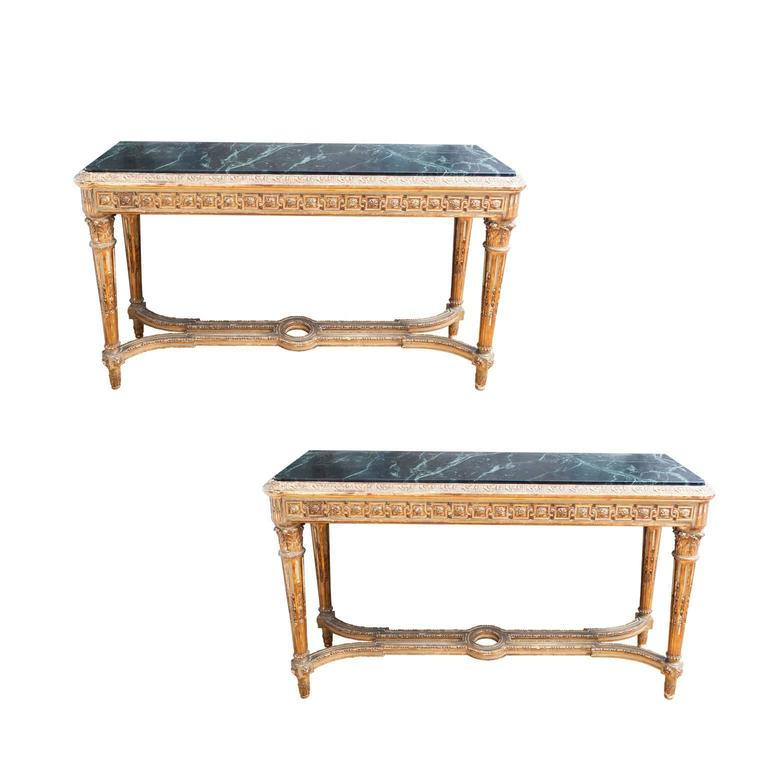 19th Century Pair of French Louis XVI Style Consoles For Sale