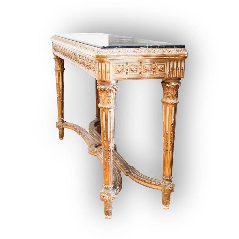 Elegant and fabulous pair consoles French hand-carved Louis XVI style, polychrome, beautiful wood work.