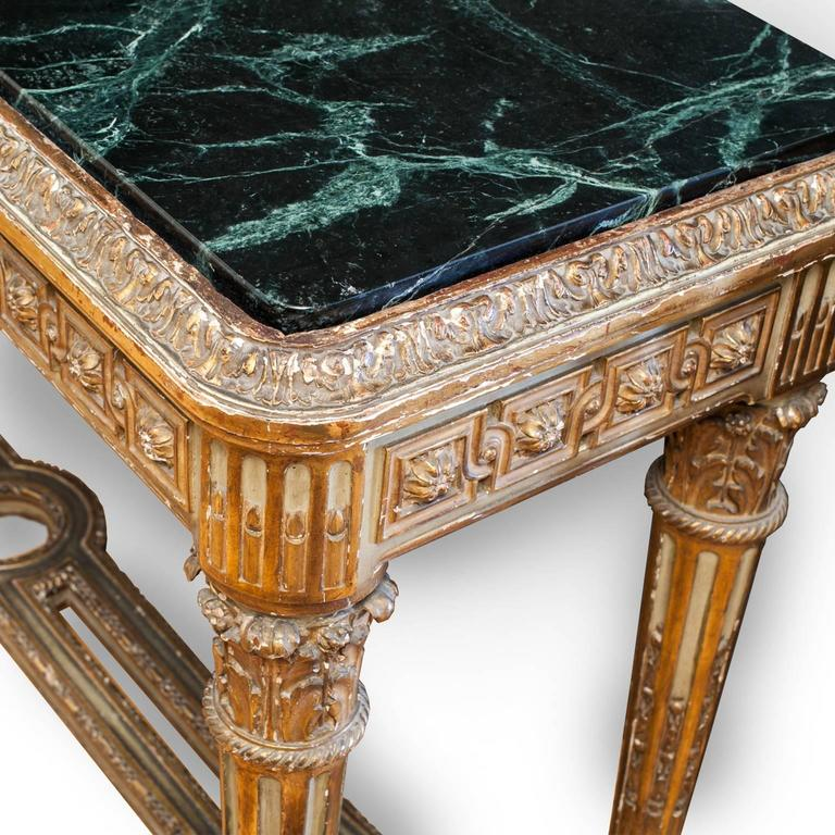 Hand-Carved 19th Century Pair of French Louis XVI Style Consoles For Sale