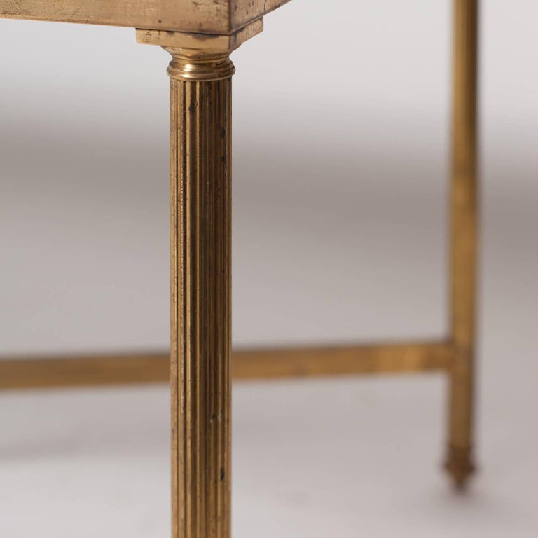 French Maison Jansen Brass Coffee Table For Sale