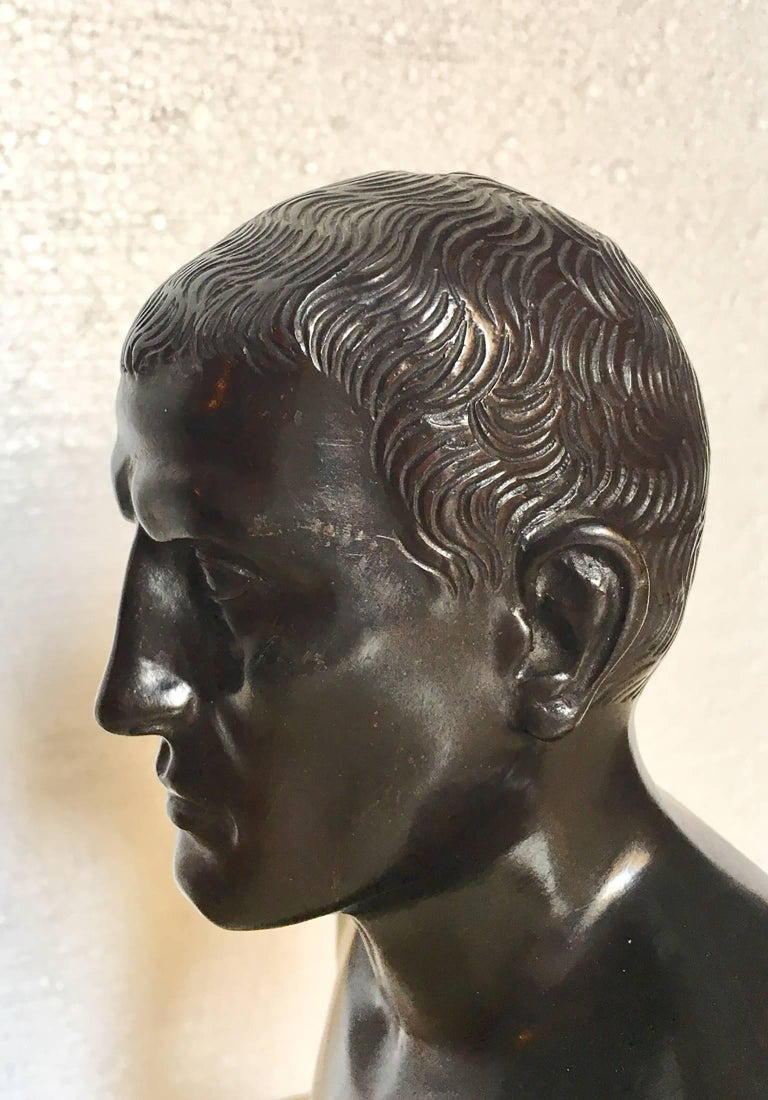 IItalian 19th century bronze bust decripting a classical figure
