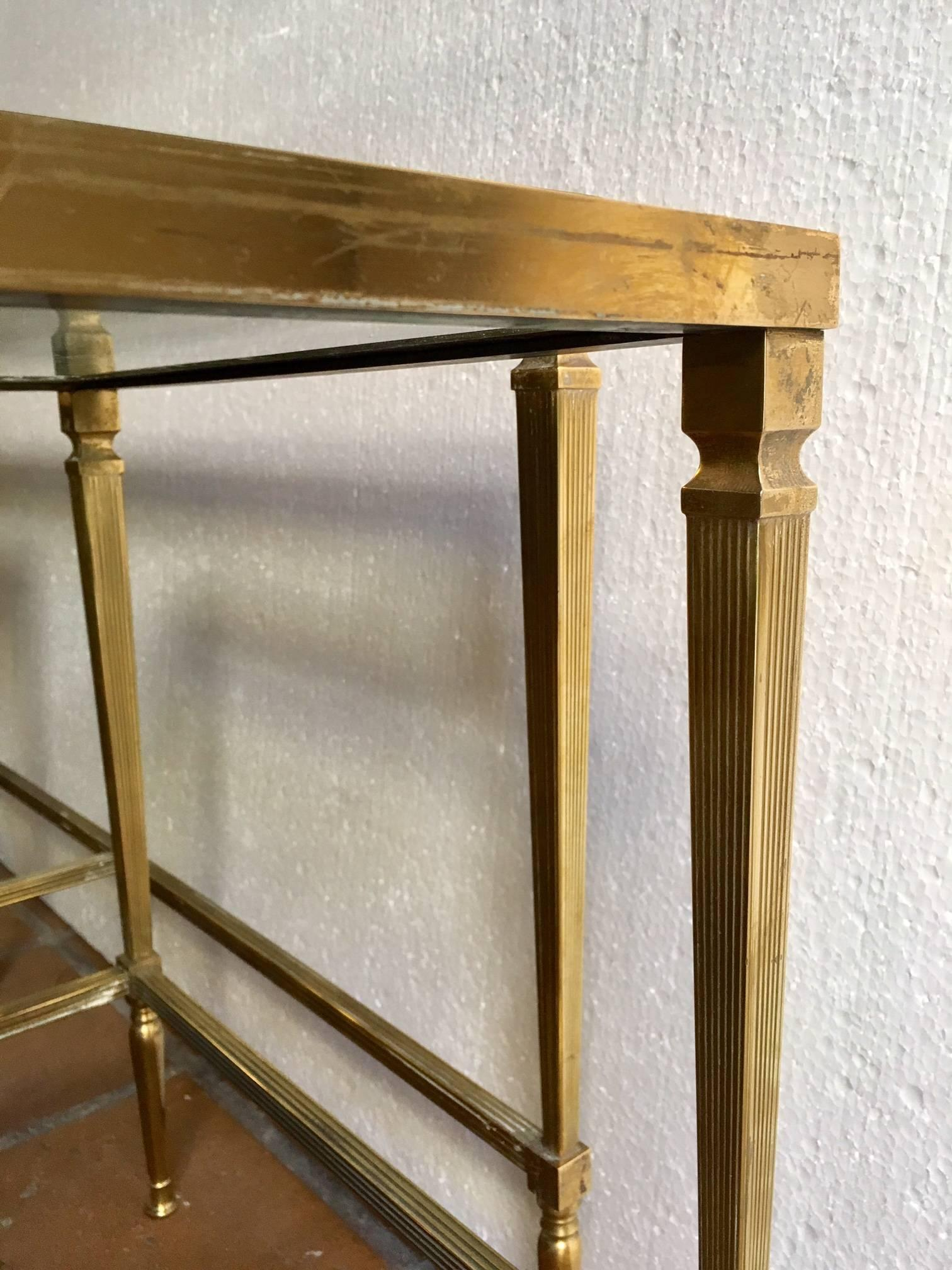 Neoclassical Revival French Brass Coffee Table With Pair Nesting Side Tables  For Sale
