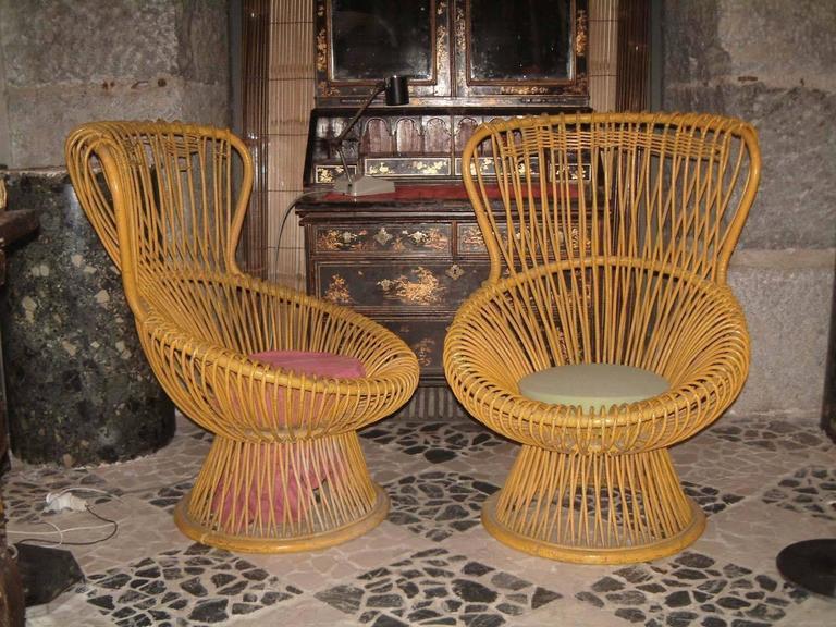 Italian Pair of Franco Albini Rattan Chairs For Sale