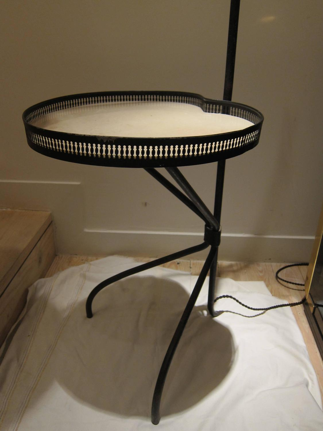 adjustable floor lamp with parchment tray france 1950
