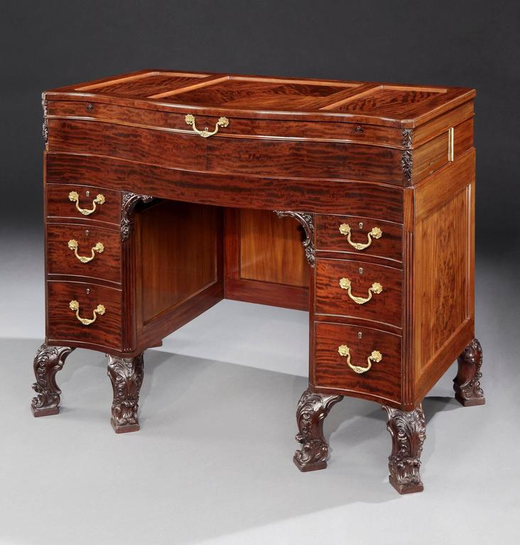 A remarkable ladies dressing table made by the Goldsmiths & Silversmiths Co. of London for his Highness Nawab Sir Sadiq Mohammed Khan Abbasi the V of Bahawalpur.  Constructed in mahogany in the form of a kneehole desk with a modesty screen,