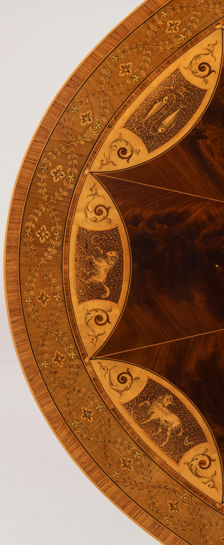English 19th Century Mahogany and Satinwood Astrological Marquetry Centre Table For Sale