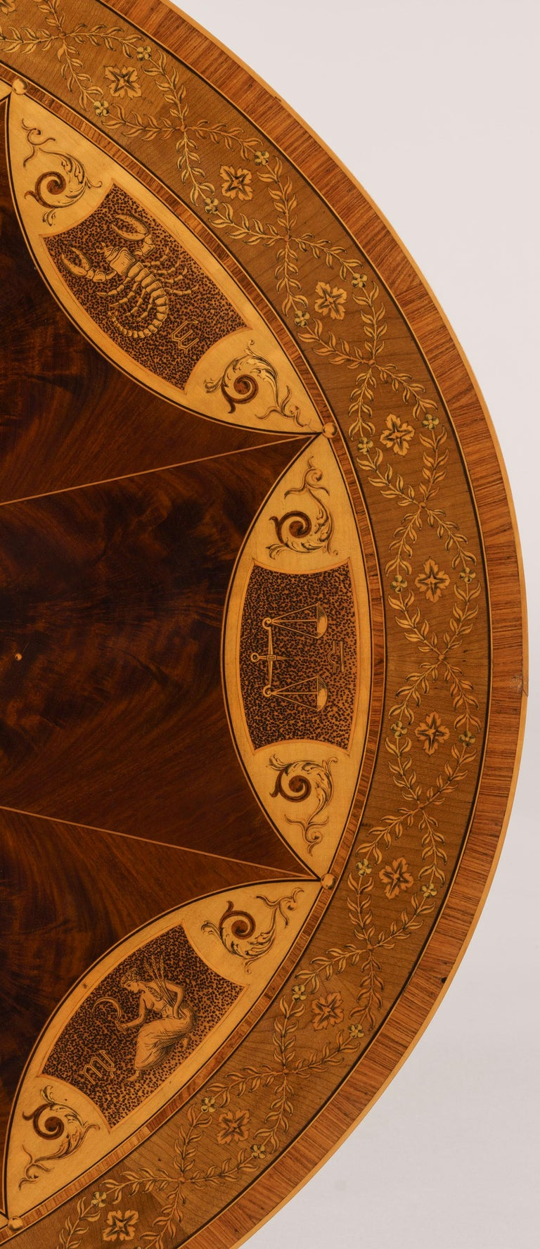 19th Century Mahogany and Satinwood Astrological Marquetry Centre Table In Excellent Condition For Sale In London, GB