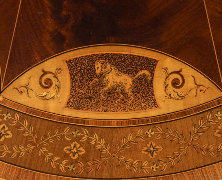 19th Century Mahogany and Satinwood Astrological Marquetry Centre Table For Sale 1