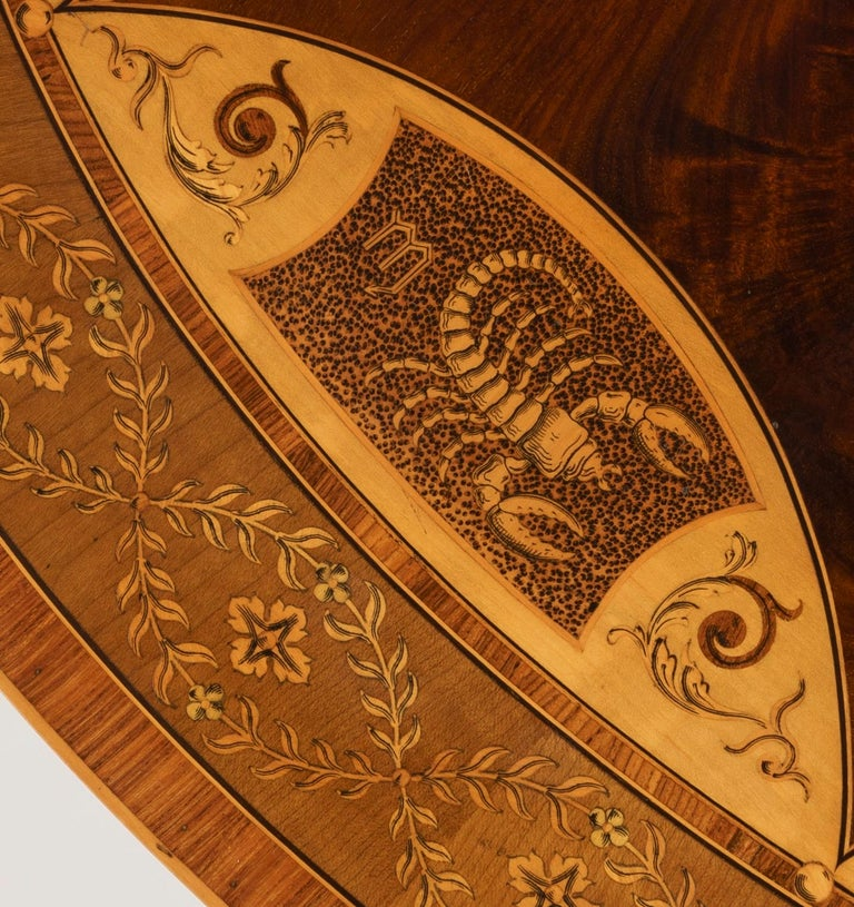 19th Century Mahogany and Satinwood Astrological Marquetry Centre Table For Sale 5