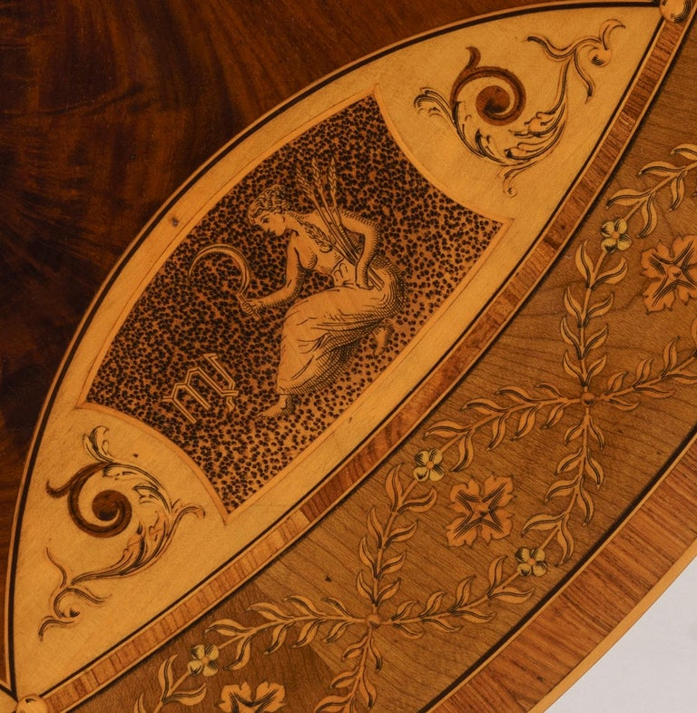 19th Century Mahogany and Satinwood Astrological Marquetry Centre Table For Sale 6