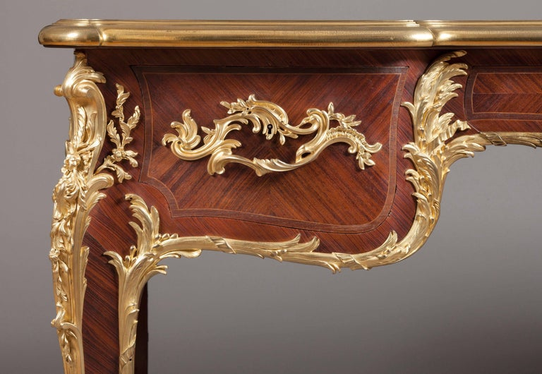 Louis XV French Kingwood and Gilt Bronze-Mounted Bureau Plat with Leather Top For Sale