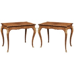 Pair of English Burr Walnut Card Tables Attributed to Gillows of Lancaster