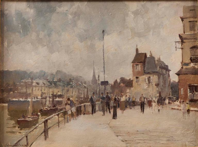 Oil on canvas, signed lower left. Depicts a scene of strolling pedestrians, buildings, and boats along the harbour of the northwest French town, Honfleur.   Sight size: H: 18 in / 45 cm W: 23.5 in / 59.5 cm.  Edward Seago RWS, RBA (1910-1974)  Seago