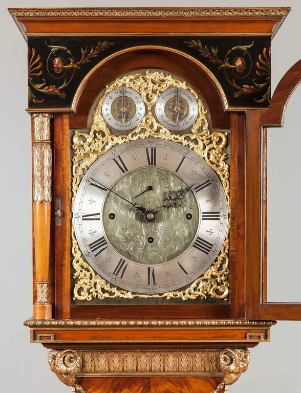 English Satinwood Longcase Clock In The Neoclassical Style