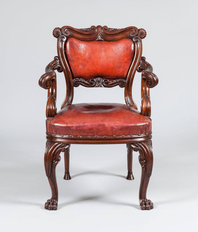 Irish 19th Century Carved Oak And Red Leather Armchair 2