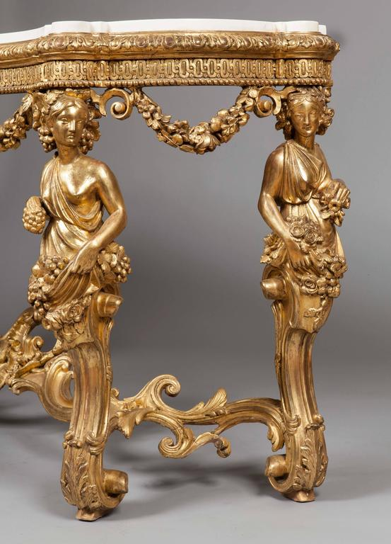 19th Century French Giltwood and White Marble Console Table 2