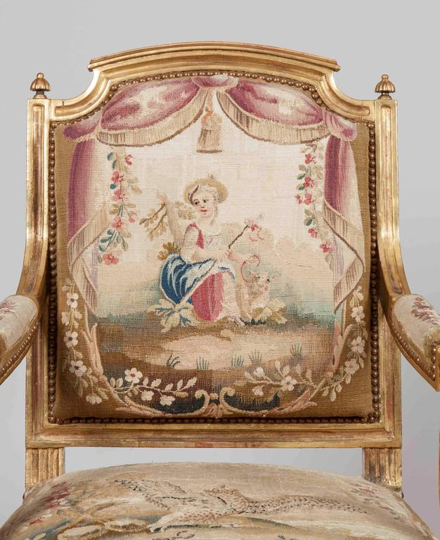 French Pair of Louis XVI Period Giltwood and Tapestry Armchairs For Sale
