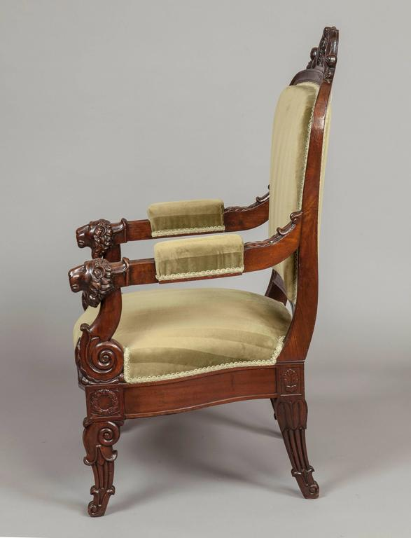 Regency Pair of French Carved Mahogany Armchairs, 19th Century For Sale