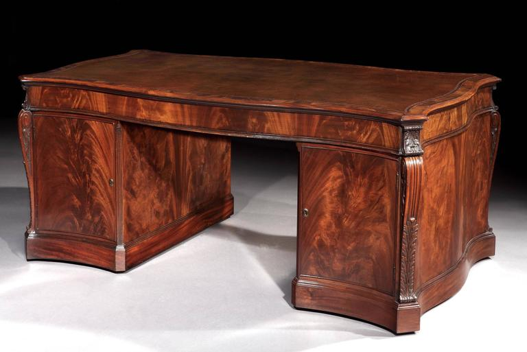 George III Style English Mahogany Partners Desk 3 - George III Style English Mahogany Partners Desk For Sale At 1stdibs