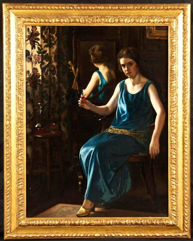 A fine oil painting 'The Blue Girl' By Stanley Thompson (b.1876)  Oil on canvas, signed and dated 1925. Depicts a full-length portrait of a seated girl in a blue dress, holding a glass of red sherry, within an interior scene.  Painted in the manner