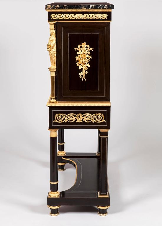 Renaissance Pair of French 19th Century Ebony, Hard Stone and Ormolu Mounted Secretaires For Sale
