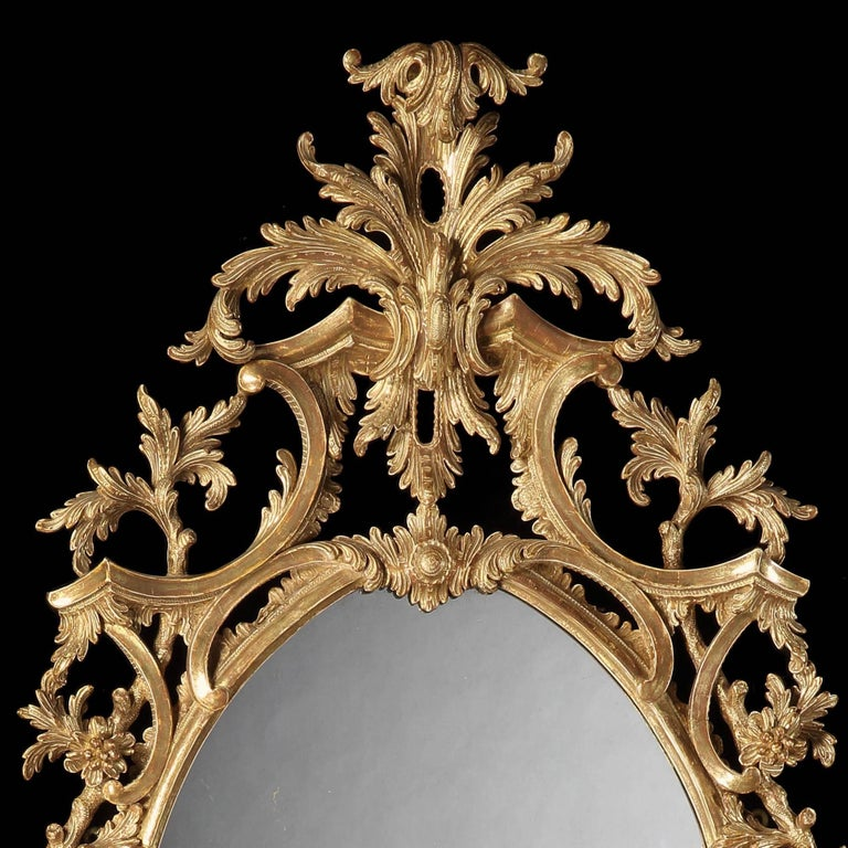 Great Britain (UK) Pair of 19th Century English Giltwood Mirrors in the George III Style For Sale