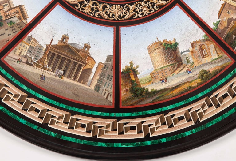 Malachite 19th Century Grand Tour' Giltwood and Micromosaic Centre Table with Roman Scenes For Sale