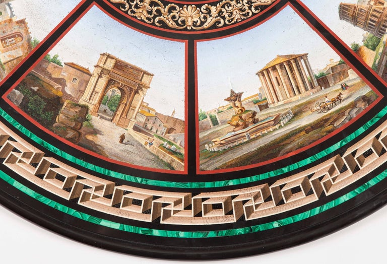 19th Century Grand Tour' Giltwood and Micromosaic Centre Table with Roman Scenes For Sale 1