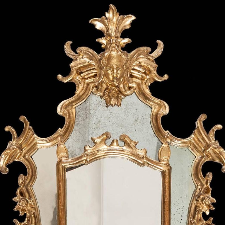 A pair of mid-18th century Italian looking glasses.  Constructed in floral carved gold leaf giltwood, the shaped symmetrical swept frames having female mask mounts on a foliate ground, with internal reserves separating the mirror plates and