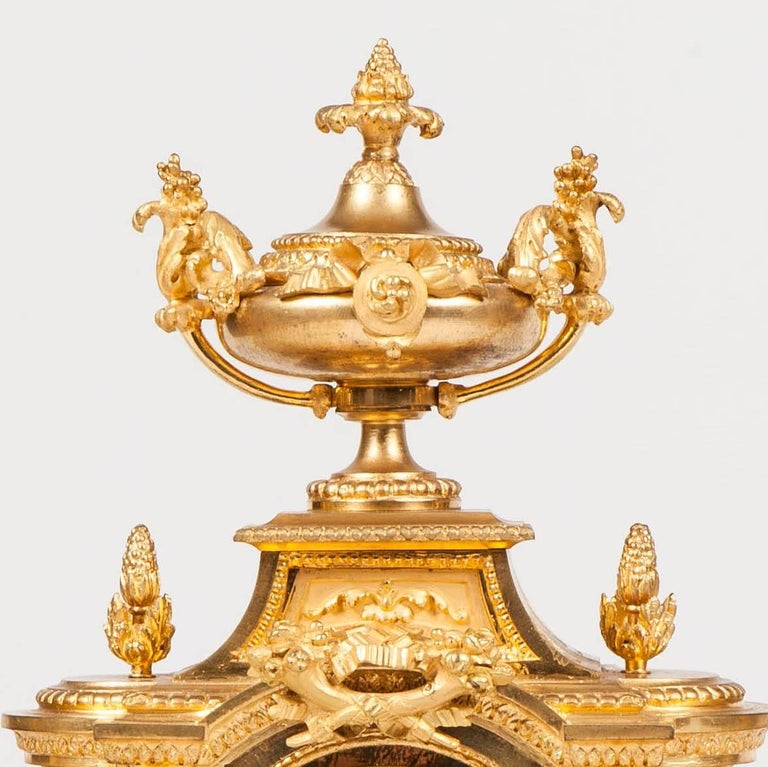 Belle Époque French 19th Century Gilt Bronze Mantel Clock and Candelabra For Sale