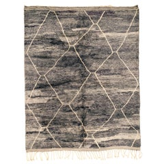 Stunning Anthracite Grey Moroccan Berber Rug