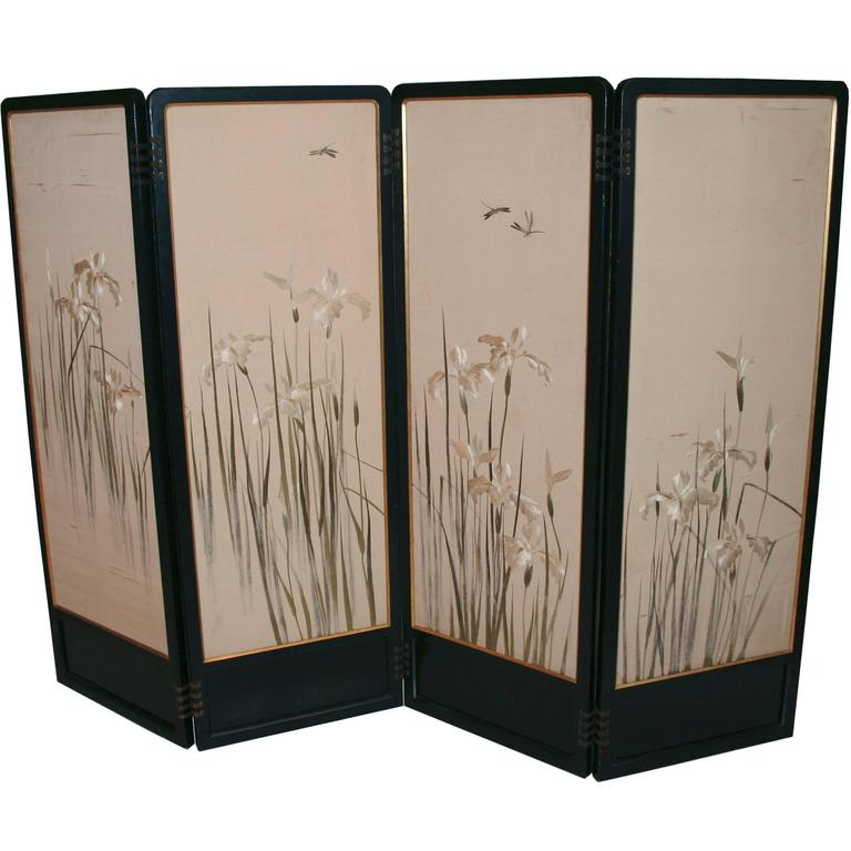 art deco screen with japanese painting and silk embroidery f