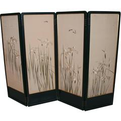 Art Deco Screen with Japanese Painting and Silk Embroidery