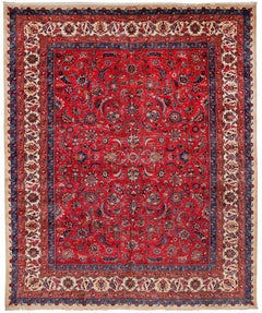 Antique Persian Burgundy Ground Signed Mashad Rug with Allover Pattern