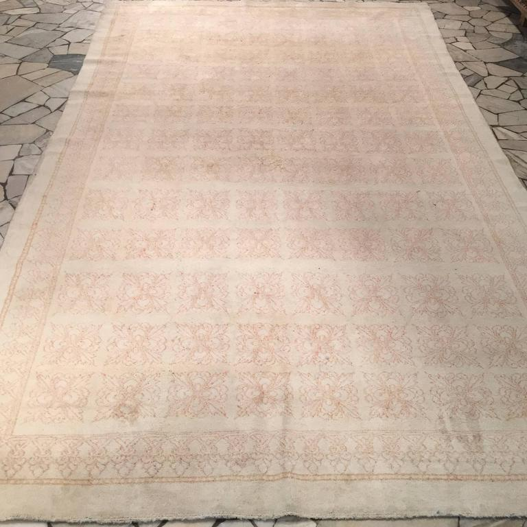 Antique Cotton Agra Rug with Tile Pattern For Sale 2